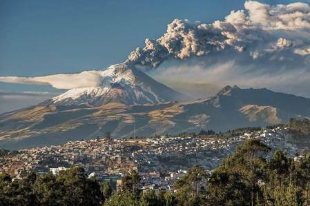 An ash plume rises from Cotopaxi three weeks ago.