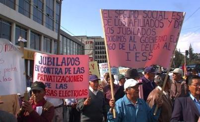 Retirees protested earlier this year in Quito against changes to the Social Security system.