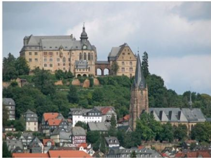 This Marburg, Germany castle was built in the 12th Century and the Cathedral was constructed one the burial site of a wealthy aristocrat who gave her wealth to form alm houses for the poor. The site of her burial was where miracles occurred and the city became a pilgrimage destination in the middle ages.
