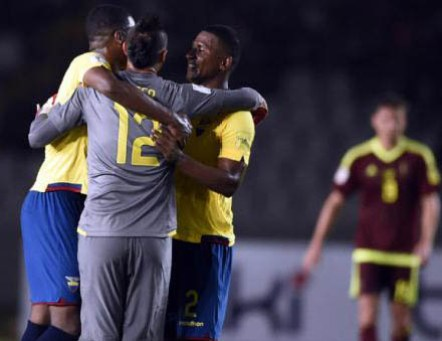 Ecuador players celebrate after first goal on Tuesday night.