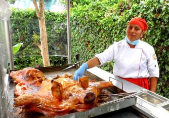 This pig is roasted Ecuadorian-style