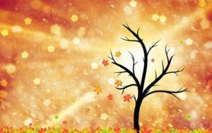 CUENTO DEL AMOR Y LA AMISTADand floor. Beautiful autumn season tree with leaves illustration with copy space background.