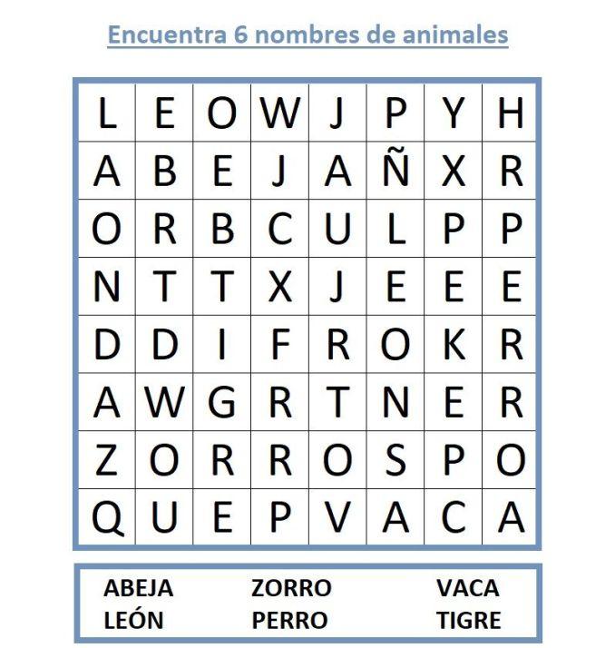 JUEGO DE SOPA DE LETRAS DE ANIMALES
