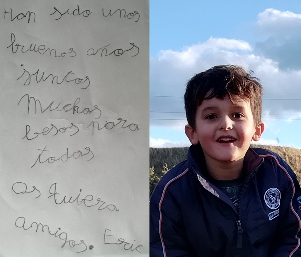 Carta de Eric a sus compañeros al acabar Infantil