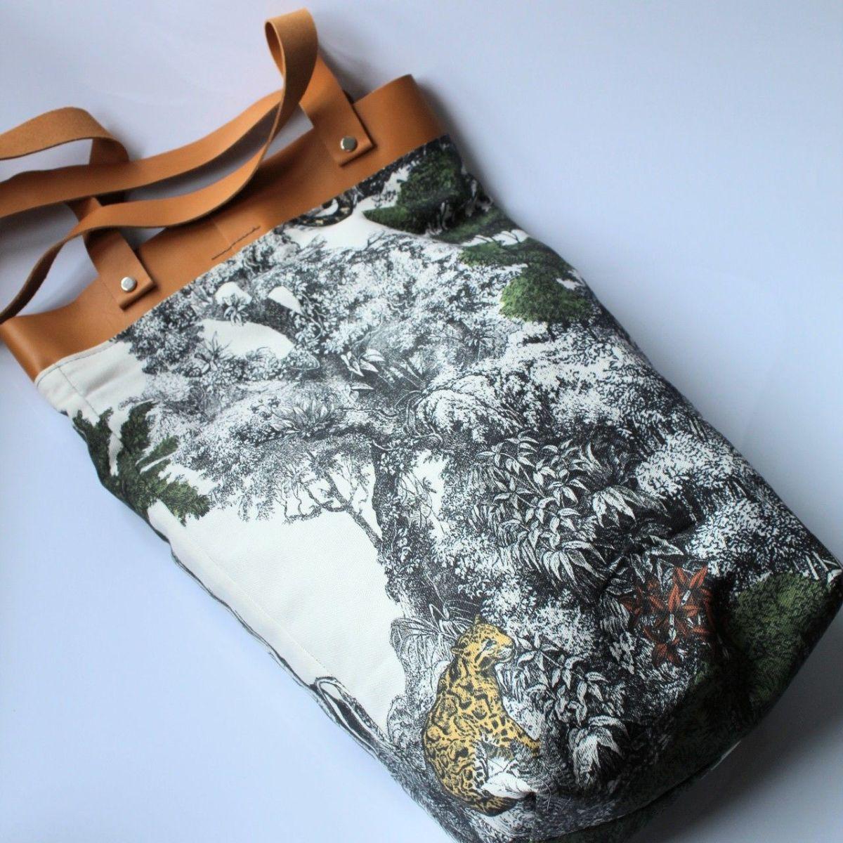 Bolsa en algodon ecologica estampación selva