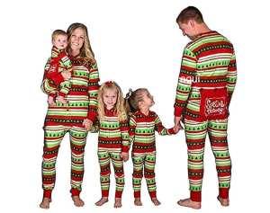 ropa para las fiestas. Pijama para la familia a rayas