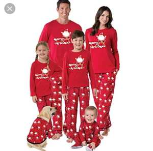 ropa para las fiestas. Pijama para toda la familia rojo