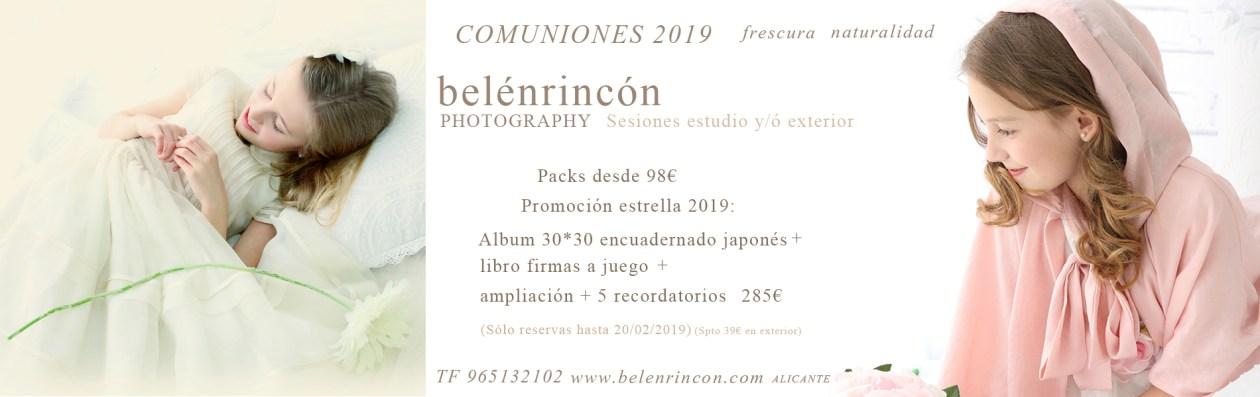 Promoción para sesiones de fotos de Comunión antes del 20 de febrero del 2019 con Belén Rincón Fotografía