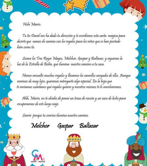 Carta escrita por los Reyes Magos desde Mis cartas mágicas