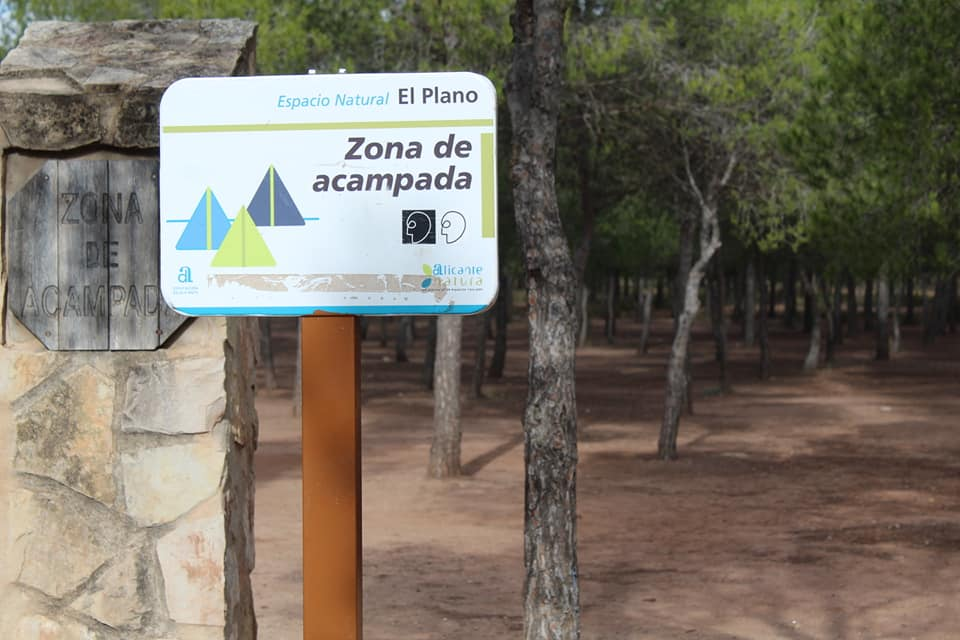 Entrada a la zona de acampada de El Plano