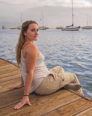 Anastasia Ruttschow on the docks of Morro Bay.