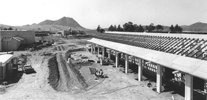 Construction of locker rooms and physical education buildings in 1973.