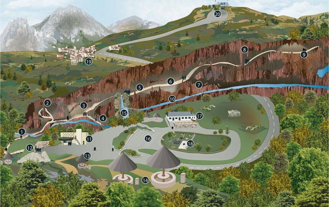 Plano de la cueva Valporquero. Fuente: http://www.cuevadevalporquero.es