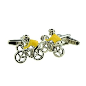 Cyclist influenced yellow winners cufflinks