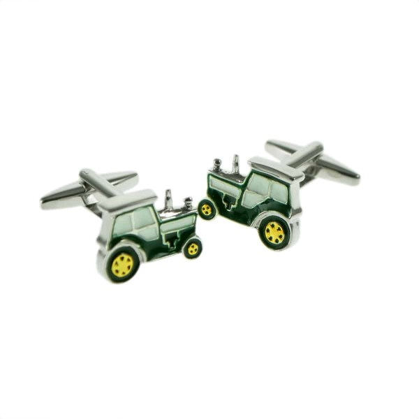 Green and Gold Tractor Farm Cufflinks