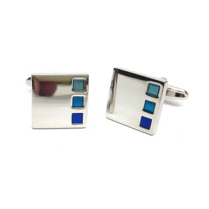 Three blue square cufflinks