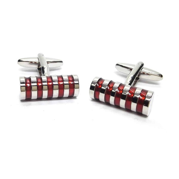 Red diagonal striped cyclinder cufflinks