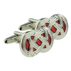 red celtic design cufflinks