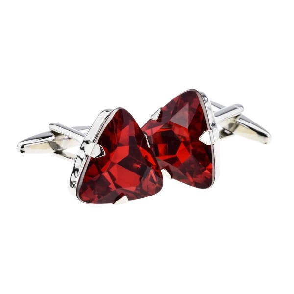 Ruby red triangular cufflinks