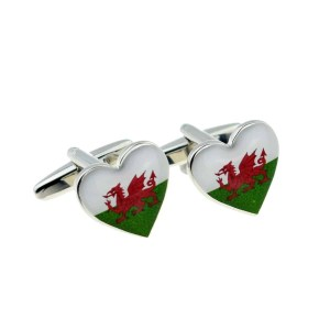 Welsh Heart Shaped Cufflinks