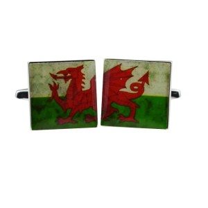 Distressed Welsh Dragon Cufflinks