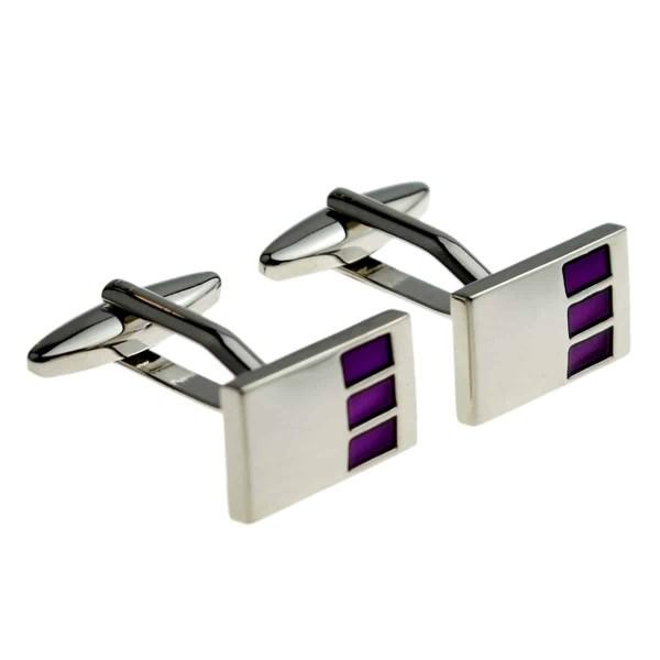Three Purple Square Classic Cufflinks