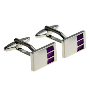 Three Purple Square Classic Cufflinks