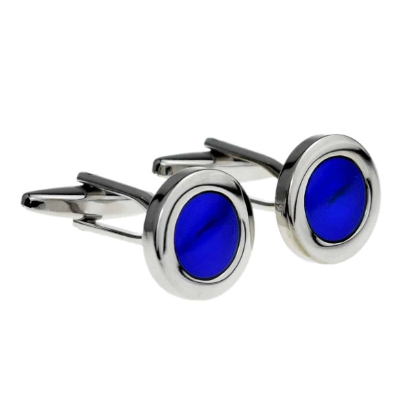 Round Cufflinks with a Blue circle design