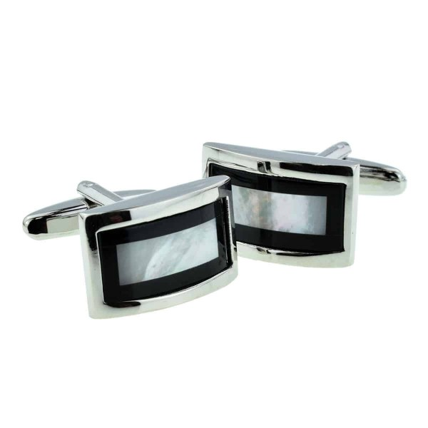 Curved mother of pearl cufflinks