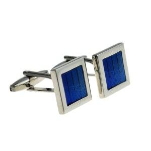Blue holographic striped cufflinks
