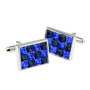 Blue and black crystal cufflinksv