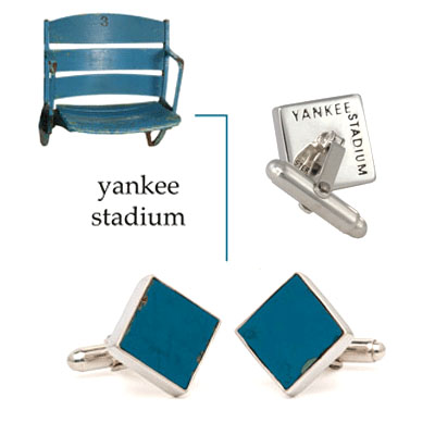 Cufflinks made from recycled stadium pieces