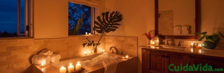 baño relajante velas estres