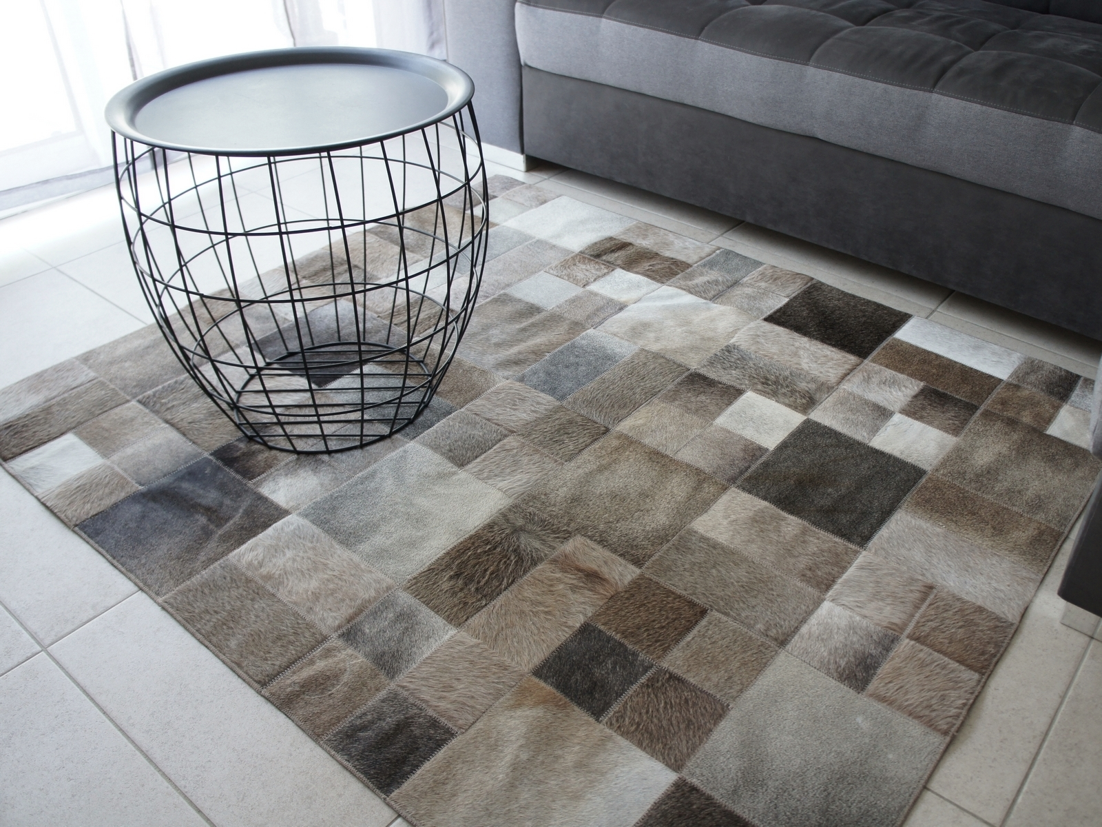 tapis gris et taupe modele chicago