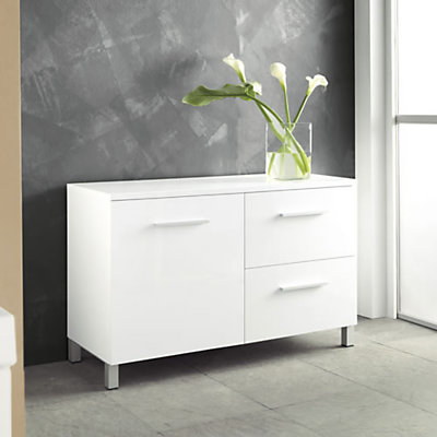 meuble bas salle de bain blanc laque