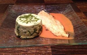 filet truite flan 1 - Filet de Truite sauce au Poivron et vin blanc / Flan aux fanes de Radis