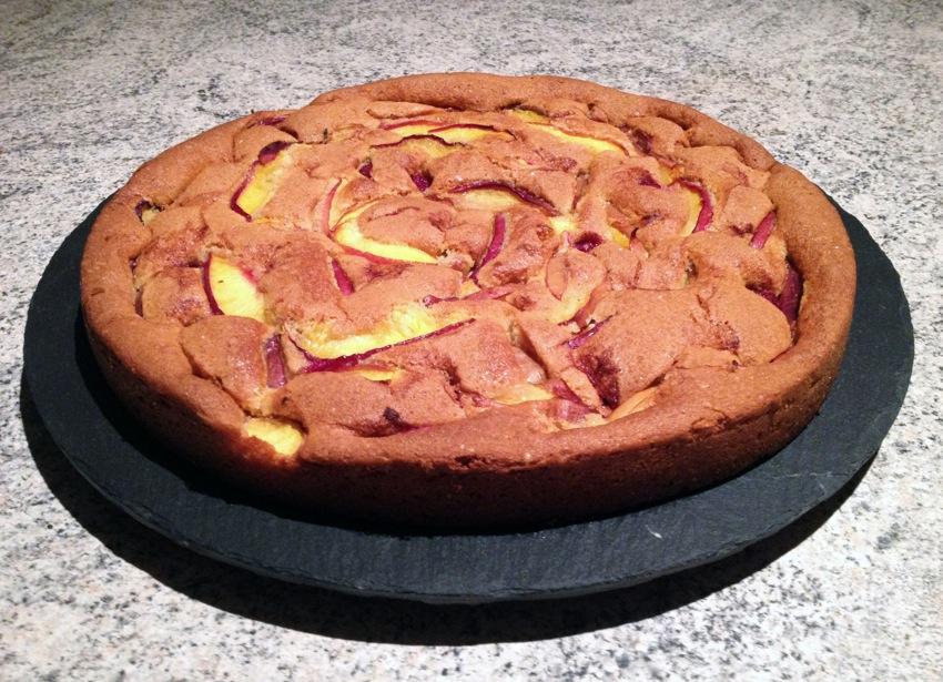 Recette de Gâteau fin framboises et nectarines