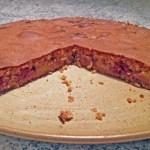 crousti fondant peches framboises 3 - Gâteau crousti-fondant aux pêches et aux framboises