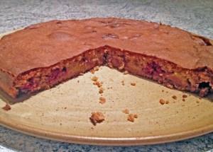 Recette de Gâteau crousti-fondant aux pêches et aux framboises