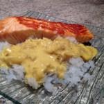 saumon konjac epices 2 - Pavés de saumon aux épices et gohan de konjac