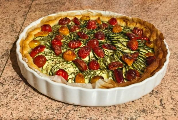 """tarte chevre courgettes tomates lardons 1 - On a testé : Le découpe légumes """"Nicer Dicer"""""""