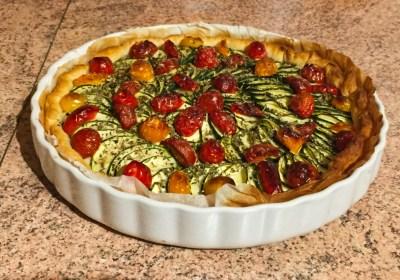 tarte chevre courgettes tomates lardons 1 - Tarte aux courgettes, tomates, lardons et mousse de chèvre