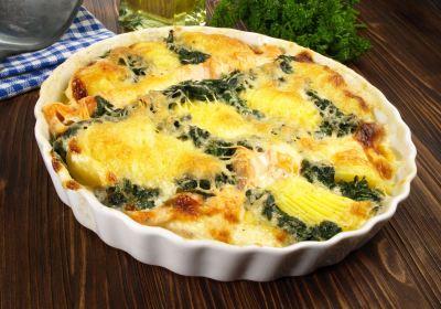 i72674 gratin d epinards haches et pommes de terre - Gratin d'épinards et pommes de terre au chèvre