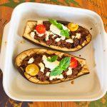 IMG 3793 - Aubergines farcies viande hachée, menthe, tomate, feta