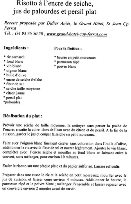 Recette grand chef toil recette risotto l encre - Recette avec robot de cuisine ...