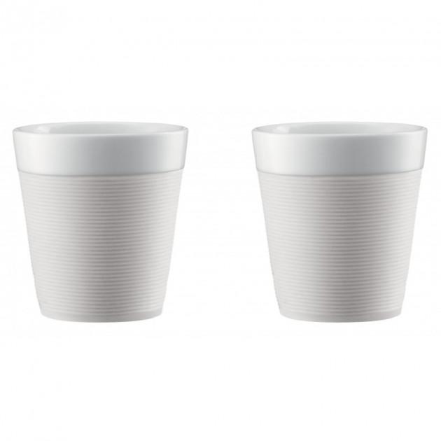 mug double paroi 17cl porcelaine et silicone creme bodum x2