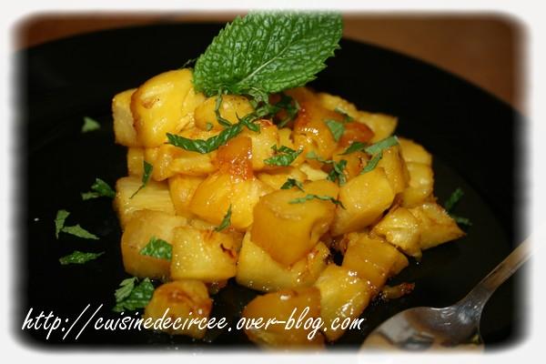 Ananas roti au miel et menthe (recette Actifry)
