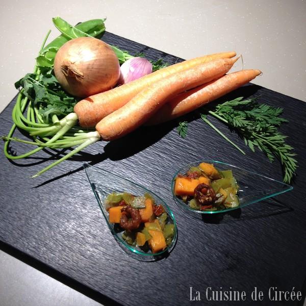 Cuillères de crevettes caramélisées sur son lit de légumes