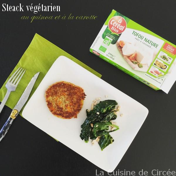Steack végétarien au quinoa et à la carotte et ses épinards au tofu