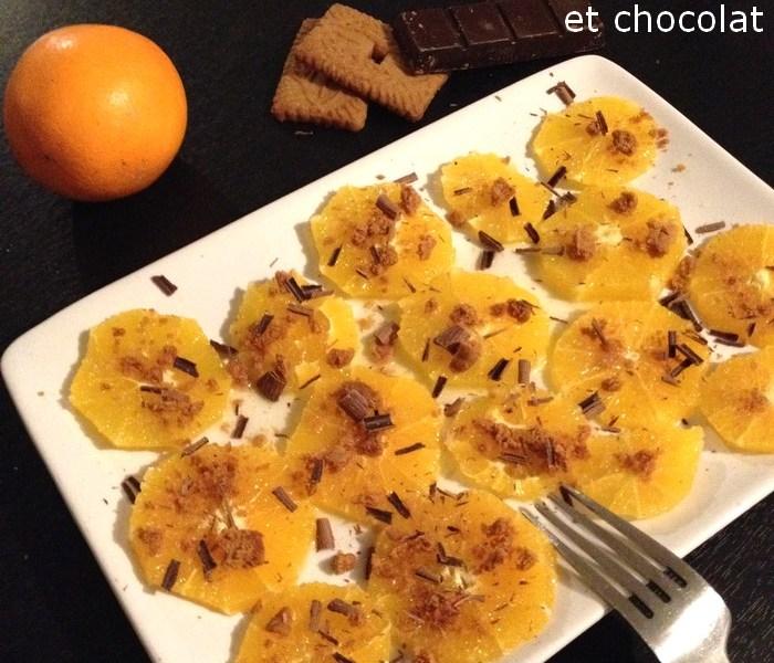 Carpaccio d'orange au speculoos et chocolat